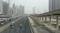 Sheikh Zayed Road from a Metrobridge Stock Footage