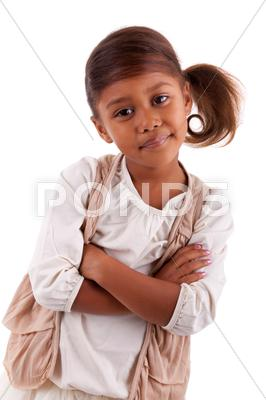 Stock photo of cute little african asian girl  isolated on white background