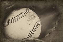 Retro vintage grungle stlye kuva baseball ja hanska vuotiaiden vaikutuksia Kuvituskuvat