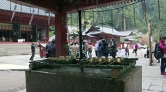 Purification fountain of Japanese Shrine Stock Footage