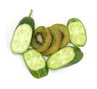 Sliced ??cucumber with kiwi fruit on white background Stock Photos