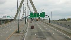 Boston Leonard Zakim Bunker Hill Memorial Bridge Stock Footage