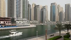 Beautyful Dubai Marina Architecture with boat Stock Footage