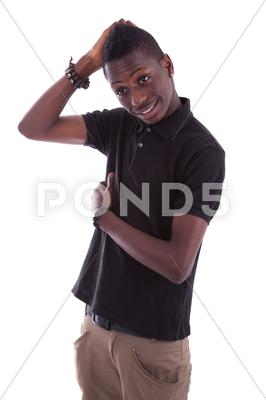 Stock photo of portrait of a young african teenager smiling