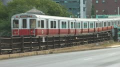 Boston Red Line Train On Longfellow Bridge Stock Footage