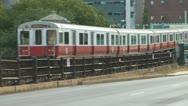 Boston Red Line Train On Longfellow Bridge Stock Footage