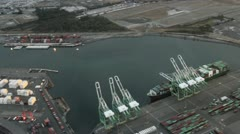 Cargo Cranes and Dock at Dawn - Aerial View 2 - stock footage