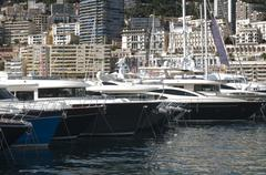 Stock Photo of yachts moored in monaco