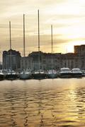 yachts moored in cannes - stock photo