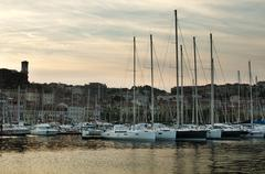 Stock Photo of yachts moored in cannes
