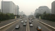Beijing CBD, Air Pollution and Huge Traffic in China due to a dust storm Stock Footage