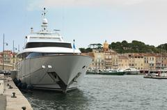 anchored yacht in st. tropez - stock photo