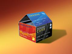 Stock Illustration of home equity house of cards