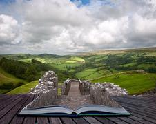 Creative concept image of summer landscape in pages of book Stock Photos