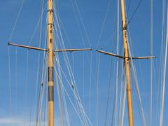 masts of yachts - stock photo