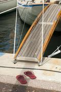 Yacht boarding ladder Stock Photos