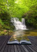 Creative concept image of flowing forest waterfall coming out of pages in mag Stock Photos