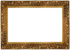 Golden Frame isolated on white Background. Clipping path included. - stock photo