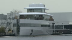 Frontal view of Venus the boat of Apple tycoon Steve Jobs Stock Footage