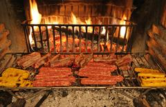 Plentiful grilled mixed meat cooked Stock Photos