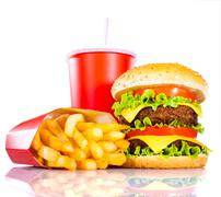 Tasty hamburger and french fries Stock Photos