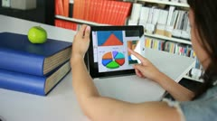 Female student looking at graphs on Digital tablet Stock Footage
