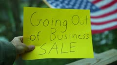 Going out of business sale american america sign Stock Footage
