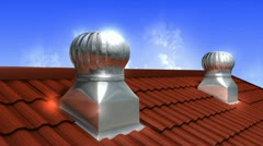 Rooftop wind-driven ventilation turbine, air, flow, technology. Stock Footage