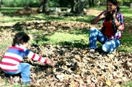 Stock Video Footage of Young mother having fun with her son in beautiful autumn park, steadicam shot