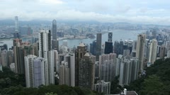 Aerial View of Hong Kong Island Skyline, Victoria Harbour, Kowloon Peninsula - stock footage