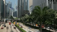 Commuters, Hong Kong Island Skyline, Admiralty District, Tram, time lapse Stock Footage