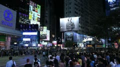 Night Traffic, Hong Kong Crowds Rush Hour Shopping Area, Crowded Street, Car Stock Footage