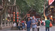 Tourist visit Old Town, Temple in Nanjing, China Stock Footage