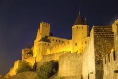 Carcassonne at night - stock photo