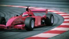 F1 red bolide in slow motion. Beautiful 3d animation. Loopable. HD 1080. Stock Footage