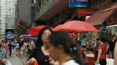 Tram on Hong Kong Market Street, Meat, Fruits, Clothes, Fish, Chinese Stock Footage