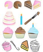 Cupcake Bakery Icon Set - stock illustration