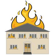 house on fire - stock illustration