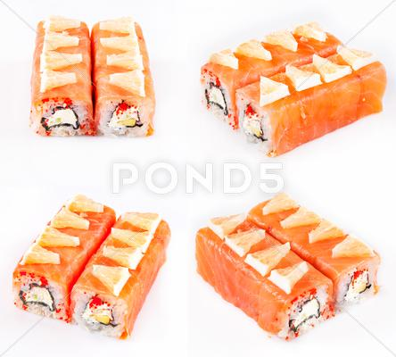 Stock photo of sushi roll with salmon and cheese