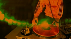 Dj mixing records turntables male party club disco vinyl Stock Footage