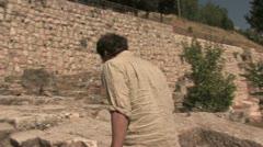 Pilgrim walks Holy Steps Stock Footage