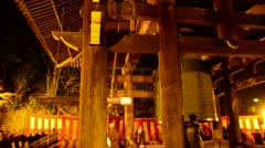 Temple bell ringing at Chion-in in Kobe at new years eve with monks Stock Footage