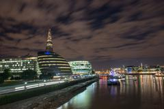 London cityscape, including city hall and river thames at night, seen from to Stock Photos