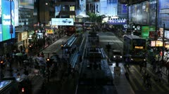 Hong Kong Crowds Rush Hour Shopping Area, Crowded Street, Car, Night Traffic Stock Footage