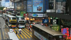 Hong Kong Crowds Rush Hour Stores Area, Crowded Street, Car, Bus Traffic Stock Footage
