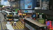 Stock Video Footage of Hong Kong Crowds Rush Hour Stores Area, Crowded Street, Car, Bus Traffic