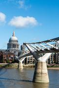 millennium bridge and st.paul's cathedral, london - stock photo