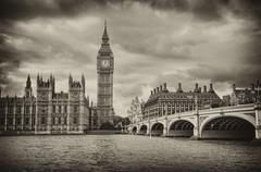 london, uk - palace of westminster (houses of parliament) with big ben clock  - stock photo