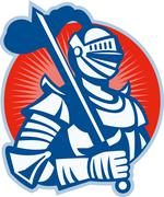 knight full armor with sword retro. - stock illustration