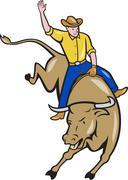 Rodeo cowboy Bull Riding sarjakuva. Piirros
